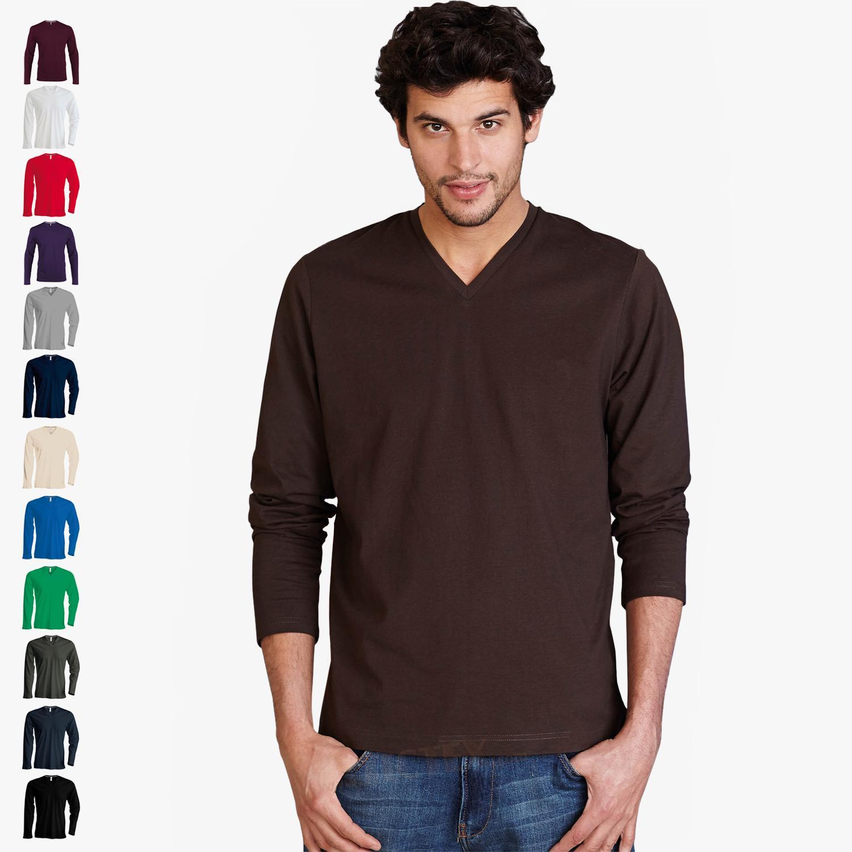 kariban herren langarmshirt mit v ausschnitt bis gr e 4xl. Black Bedroom Furniture Sets. Home Design Ideas
