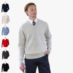 Henbury - Lammwoll-Pullover mit V-Ausschnitt