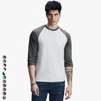 Herren Tri-Blend Baseball Shirt mit 3/4-Arm