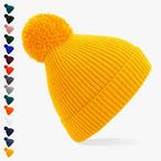 Beechfield - gerippte Mütze mit Bommel