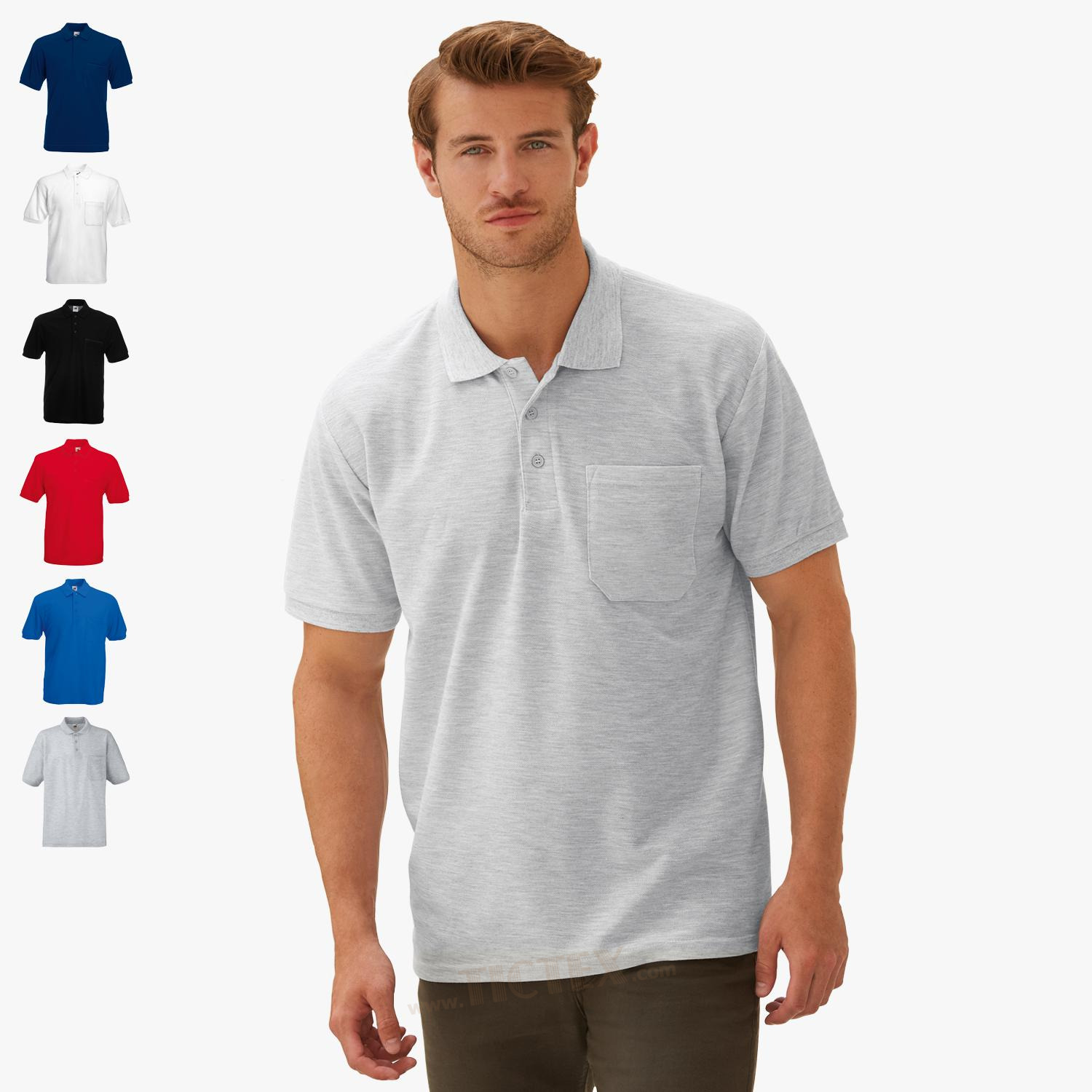 new concept 6ee8d a9527 Fruit of the Loom - Poloshirt mit Brusttasche '65/35 Pocket ...