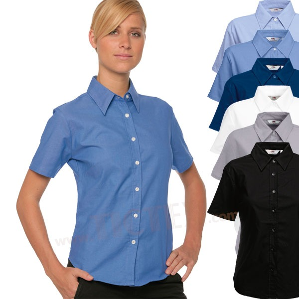 Fruit of the Loom Lady Fit Kurzarm Oxford Bluse