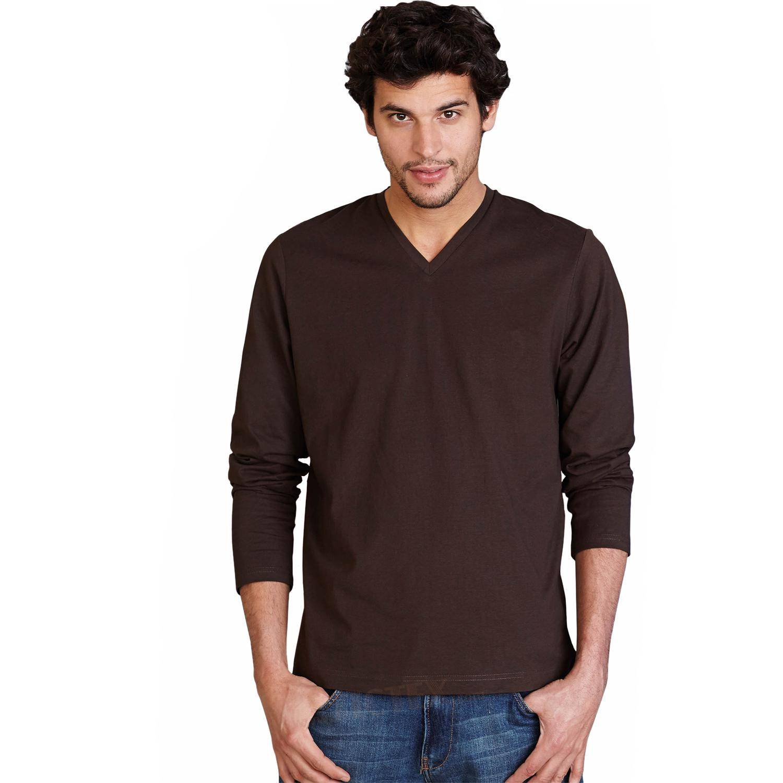 kariban unisex langarmshirt mit v ausschnitt bis gr e 4xl. Black Bedroom Furniture Sets. Home Design Ideas