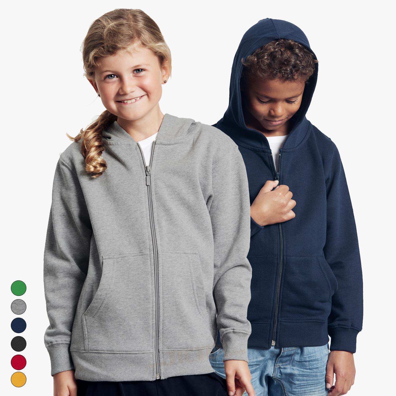Kinder Sweatjacke mit Kapuze Bio Baumwolle Kapuzenpullover mit Zip 92-158